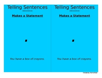 4 Types of Sentences Cards