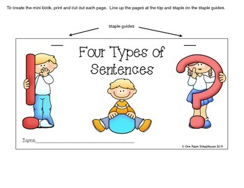 4 Types of Sentences Flip Book