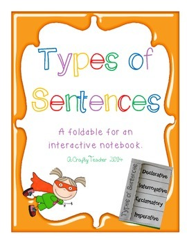 4 Types of Sentences Foldable for Interactive Notebook