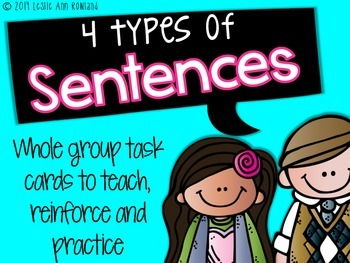 4 Types of Sentences Whole Group Task Cards and Posters