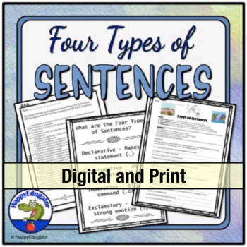 4 Types of Sentences Worksheet