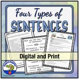 4 Types of Sentences Grammar Worksheets w/ Easel Activity