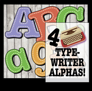 "4 Typewriter Style + Stitches Alphabets  / 372 pcs - 4"" High, Vector PDF & PNGs"