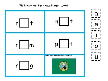 4 Washington State Symbols themed CVC Preschool Phonics Vowel Games.