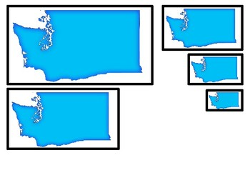 4 Washington State Symbols themed Size Sequence Preschool Learning Games.