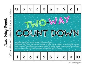 4-Way Count Down Inspired Math Game