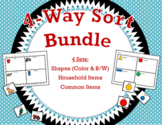 4-Way Sort Bundle * Shapes *2-Feature Shapes * Household Items * Common Items