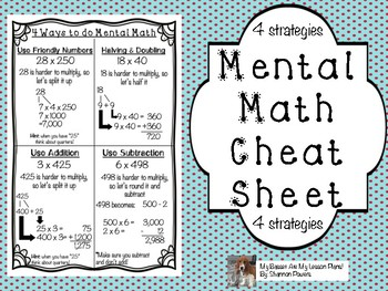 4 Ways and Strategies to do Mental Math Cheat Sheet