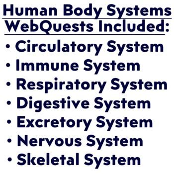 4 Webquests BUNDLED:  Digestive, Urinary, Immune and Circulatory Systems