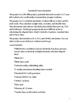 4 Week Job simulation, paycheck, taxes - Financial Literacy