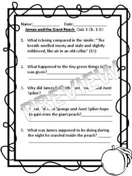 4 Weeks of James and the Giant Peach Quizzes