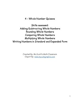 4 Whole Number Quizzes - Constructed Response