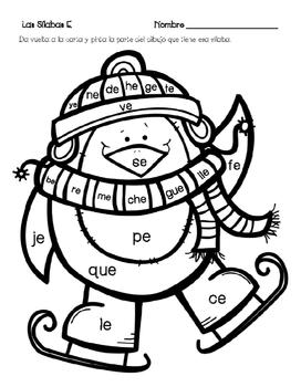 4 Winter Spanish Syllables Literacy Centers