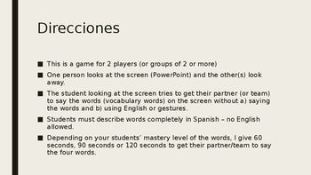 4-Word (Cuatro Palabra) Game Speaking Vocab. Practice Span. 2  Avancemos 2 1.1