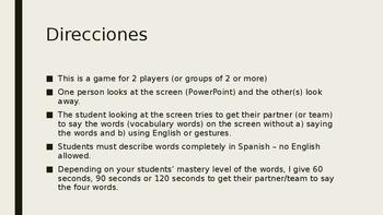 4-Word (Cuatro Palabra) Game Speaking Vocab. Practice Span. 2  Avancemos 2 1.2