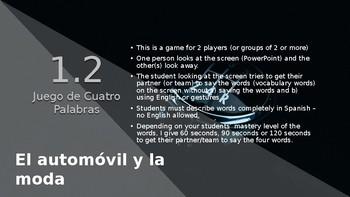4-Word (Cuatro Palabra) Game Speaking Vocab. Practice Span. 4 Realidades 4 1-2