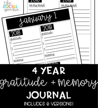 4 Year Gratitude and Memory Journal (EDITABLE)