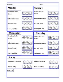 4 and 5 Day Behavior sheets