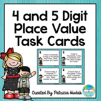 4 and 5 Digit Place Value Task Cards