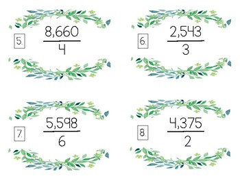 4 by 1 Digit Division Task Cards - Greenery Themed