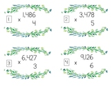 4 by 1 Digit Multiplication Task Cards - Greenery Themed