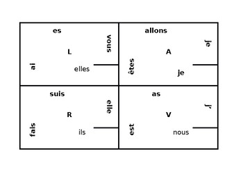 Aller Avoir Être Faire Present tense French verbs4 by 4