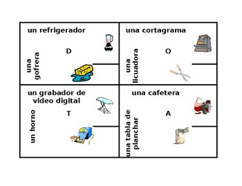 Aparatos (Appliances in Spanish) 4 by 4