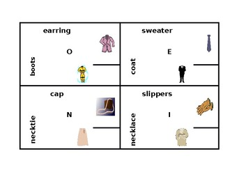 Clothing in English 4 by 4