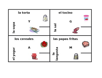 Comida (Food in Spanish) 4 by 4