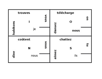 ER verbs present tense in French 4 by 4