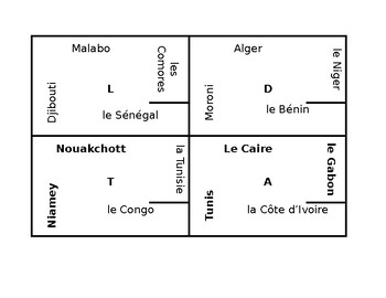 French-speaking world capitals 4 by 4