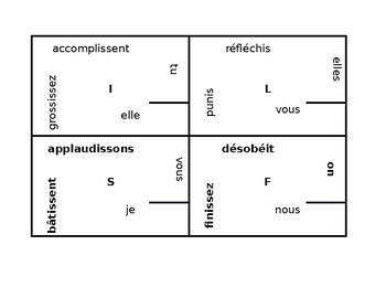 IR verbs present tense in French 4 by 4