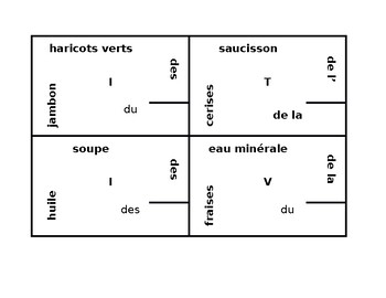 Nourriture (Food in French) Partitif 4 by 4