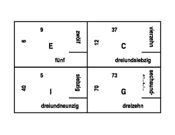 Zahlen (Numbers in German) 4 by 4