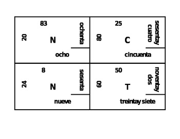 Números (Numbers in Spanish) 4 by 4