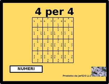 Numeri (Numbers in Italian) 4 by 4