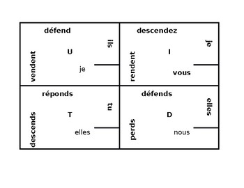 RE verbs present tense in French 4 by 4