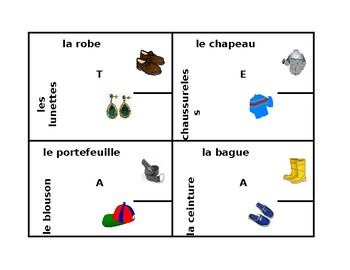 Vêtements (Clothing in French) 4 by 4