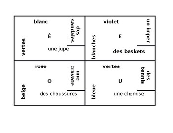Vêtements et Couleurs (Clothing and Colors in French) 4 by 4