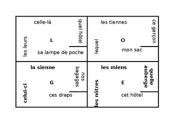 Pronoms démonstratifs, interrogatifs et possessifs French pronouns 4 by 4