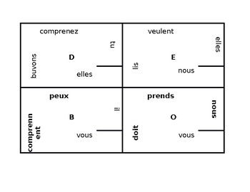 Present tense Irregular verbs in French 4 by 4