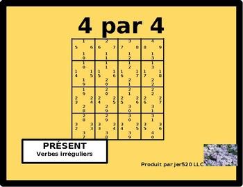 French Irregular verbs Present tense 4 by 4