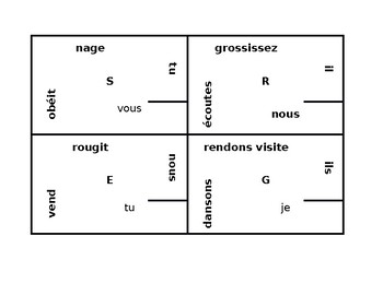 Present tense regular verbs in French 4 by 4