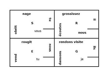 French Regular Present tense 4 by 4