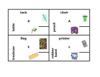 School objects in English, French, German, Italian, & Spanish 4 by 4