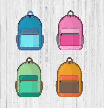 4 colors Backpack clip arts