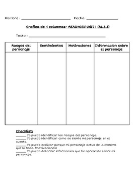 4 column character chart READYGEN ENGLISH AND SPANISH