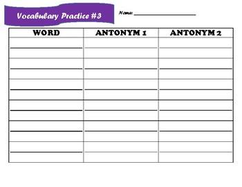 4 day vocabulary