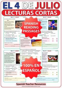 4 de julio - 4th of July Spanish Reading Passages