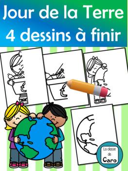 4 dessins à finir - JOUR DE LA TERRE (EARTH DAY)